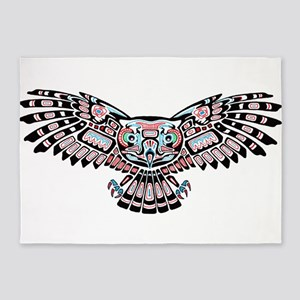Mystic Owl in Native American Style 5'x7'Area Rug