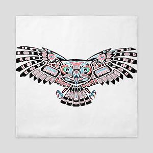 Mystic Owl in Native American Style Queen Duvet