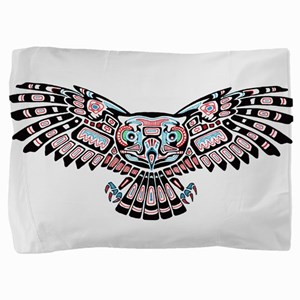 Mystic Owl in Native American Style Pillow Sham