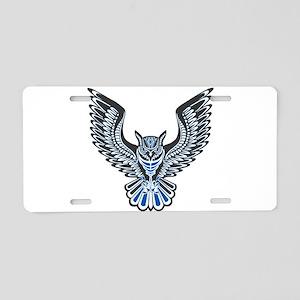 Owl Tattoo: Blue Aluminum License Plate