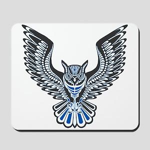 Owl Tattoo: Blue Mousepad