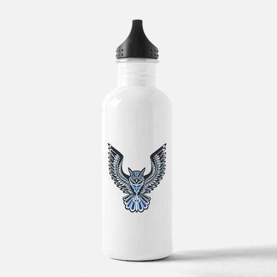 Owl Tattoo: Blue Water Bottle