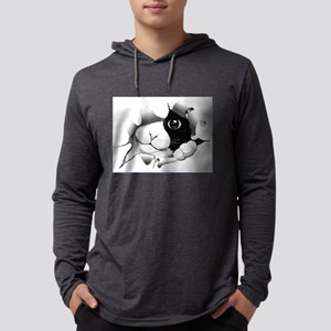Curious Black and White Cat Long Sleeve T-Shirt