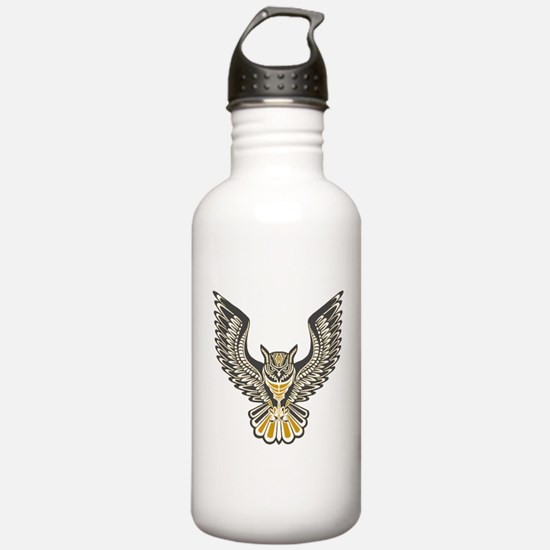 Owl Tattoo: Orange Water Bottle
