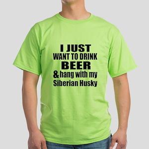 Hang With My Siberian Husky Green T-Shirt