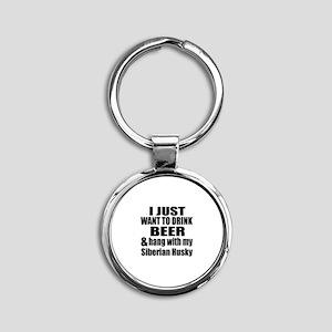 Hang With My Siberian Husky Round Keychain