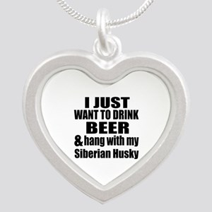 Hang With My Siberian Husky Silver Heart Necklace
