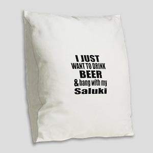 Hang With My Saluki Burlap Throw Pillow