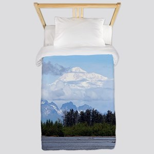 Denali, forest, river, mountains, Alask Twin Duvet