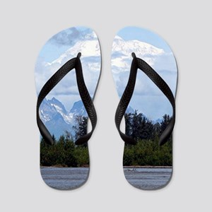 Denali, forest, river, mountains, Alask Flip Flops