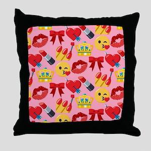 Emoji Girl Pattern Throw Pillow