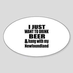 Hang With My Newfoundland Sticker (Oval)