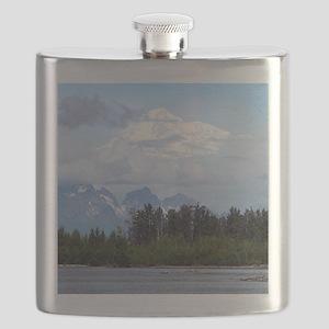 Denali, forest, river, mountains, Alaska 1 Flask