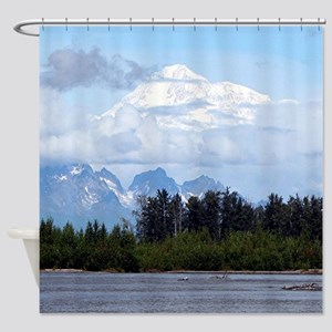 Denali, forest, river, mountains, A Shower Curtain
