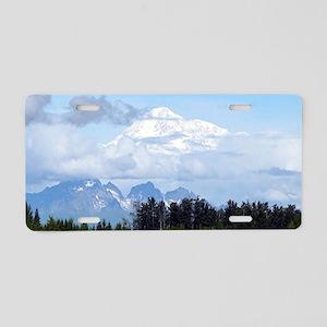 Denali, forest, river, moun Aluminum License Plate