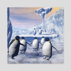 Funny penguins Queen Duvet