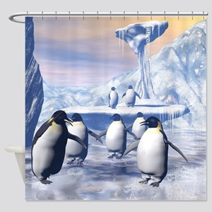 Funny penguins Shower Curtain