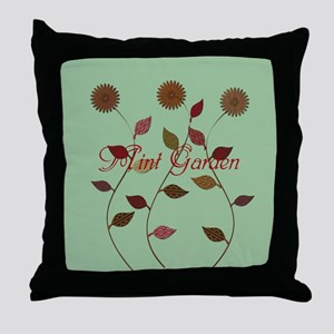 Orange Daisies Mint Garden Throw Pillow