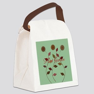 Orange Daisies Mint Garden Canvas Lunch Bag