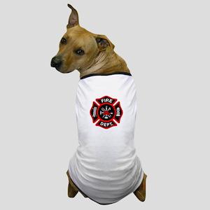 Fire Department Black Maltese Cross Dog T-Shirt