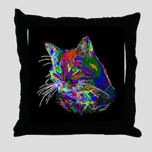 Pop Art Abstract Cat Throw Pillow