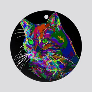 Pop Art Abstract Cat Round Ornament