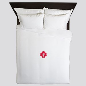 Red Maltese Fire Rescue Cross Queen Duvet
