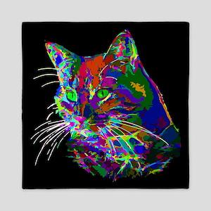 Pop Art Abstract Cat Queen Duvet