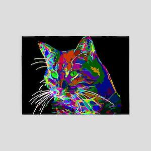 Pop Art Abstract Cat 5'x7'Area Rug
