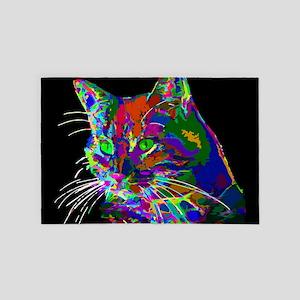 Pop Art Abstract Cat 4' x 6' Rug