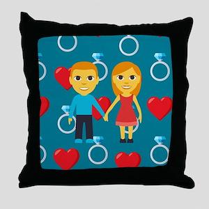 Emoji Engaged Throw Pillow