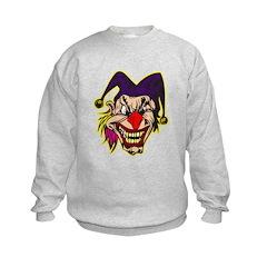 Evil Jester Clown with Pink Hair Sweatshirt