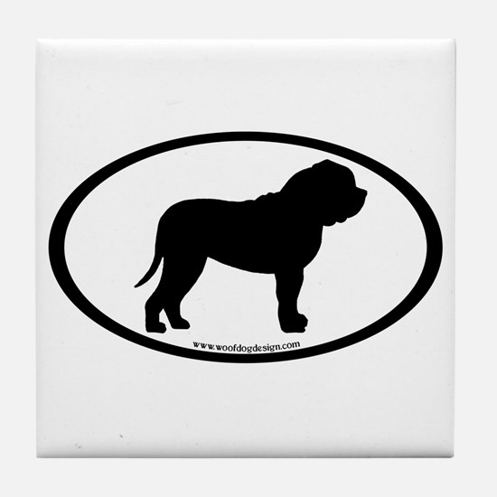 Oval Border Mastiff Dog Tile Coaster