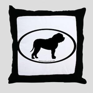 Oval Border Mastiff Dog Throw Pillow