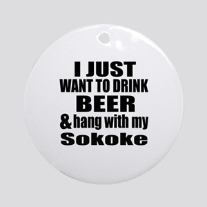 Hang With My Sokoke Round Ornament
