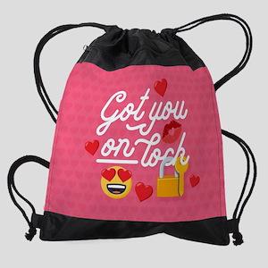 Emoji Got You On Lock Drawstring Bag