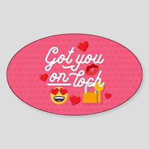Emoji Got You On Lock Sticker (Oval)