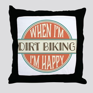 happy dirt biker Throw Pillow