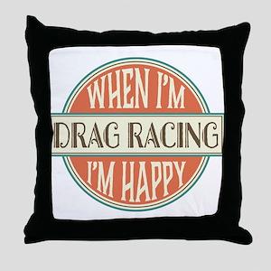 happy drag racer Throw Pillow