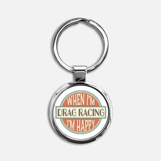 happy drag racer Round Keychain