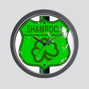 Spoof Shamrock Route 66 Sign Wall Clock