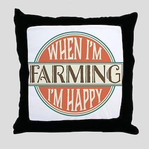 happy farmer Throw Pillow