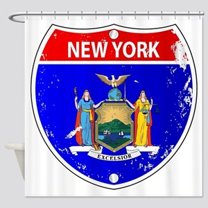 New York Flag Icons As Interstate S Shower Curtain