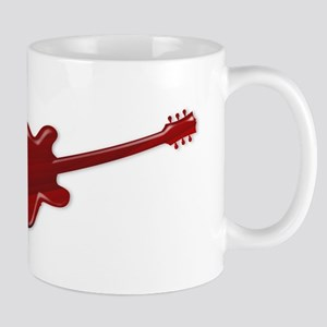 Red Wooden Guitar SIlhouette Mugs