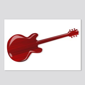 Red Wooden Guitar SIlhoue Postcards (Package of 8)