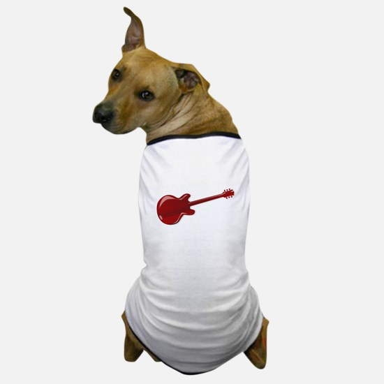 Red Wooden Guitar SIlhouette Dog T-Shirt