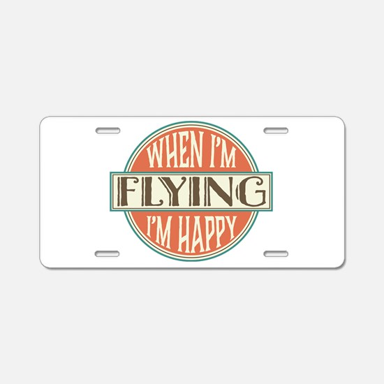 happy pilot Aluminum License Plate