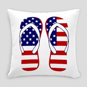 American Flag flip flops Everyday Pillow
