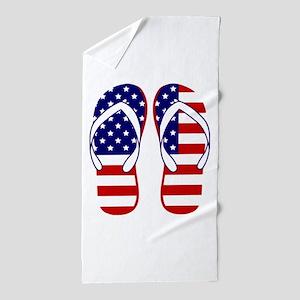 American Flag flip flops Beach Towel