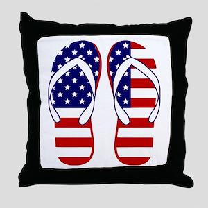 American Flag flip flops Throw Pillow